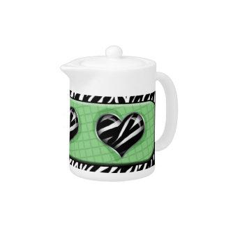 Chic My Heart - Green Zebra Print Teapot