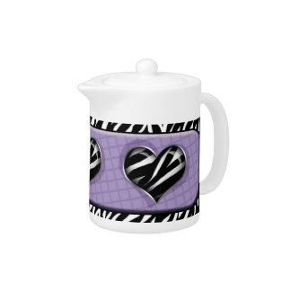 Chic My Heart - Purple Zebra Print Teapot