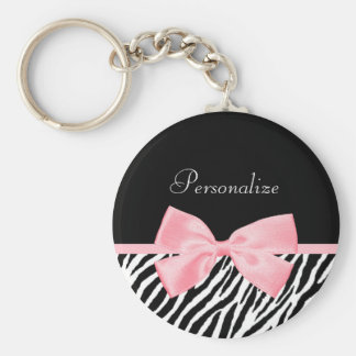 Chic Name Zebra Print Soft Girly Light Pink Ribbon Keychain