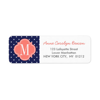 Chic Nautical Navy Polka Dots Coral Personalized Label