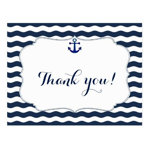 Chic Nautical Navy Waves Wedding Thank You Postcard