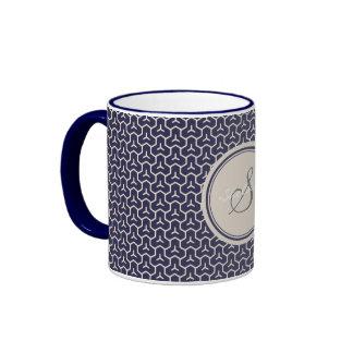 Chic navy abstract geometric pattern monogram ringer mug