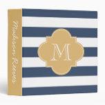 Chic Navy and Gold Striped Custom Monogram 3 Ring Binder