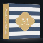 """Chic Navy and Gold Striped Custom Monogram 3 Ring Binder<br><div class=""""desc"""">Beautiful navy and white stripes with a gold quatrefoil monogram. The perfect binder for wedding planning,  recipes,  photo albums,  work,  school,  and more! To customize the font and font color,  click on the &quot;Customize It&quot; button below the product image.</div>"""