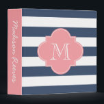 """Chic Navy and Pink Striped Custom Monogram 3 Ring Binder<br><div class=""""desc"""">Beautiful navy and white stripes with a pink quatrefoil monogram. The perfect binder for wedding planning,  recipes,  photo albums,  work,  school,  and more! To customize the font and font color,  click on the &quot;Customize It&quot; button below the product image.</div>"""