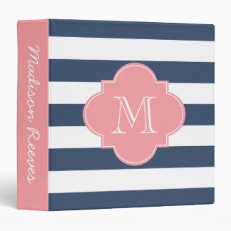Chic Navy and Pink Striped Custom Monogram 3 Ring Binder