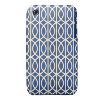 Chic Navy and White Moroccan Trellis Pattern iPhone 3 Covers