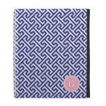 Chic navy blue abstract geometric pattern monogram iPad cases