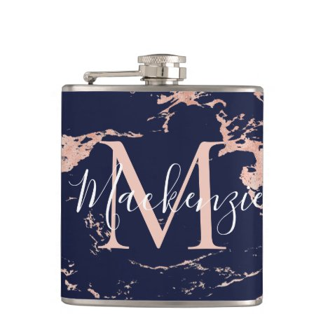 Chic Navy Blue and Rose Gold Foil Marble Monogram Flask