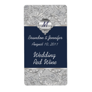 Chic Navy Blue and Silver Wedding Mini Wine Labels