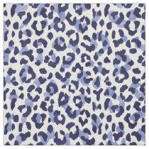 Chic navy blue and white cheetah print pattern fabric