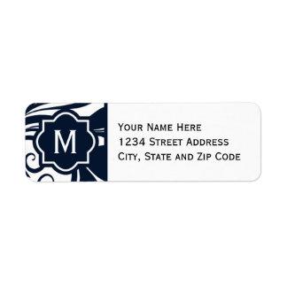 Chic Navy Blue and White Flourish Monogram Return Address Label
