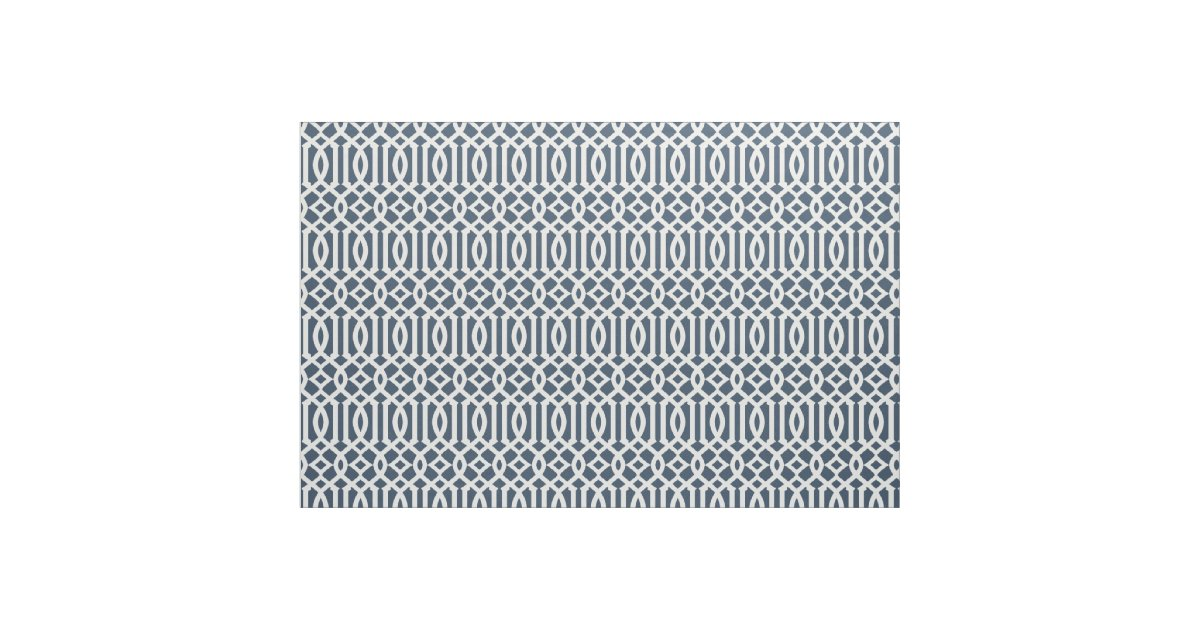 Chic Navy Blue And White Trellis Lattice Pattern Fabric