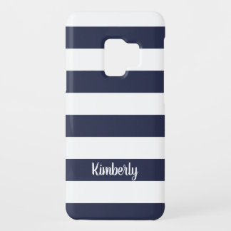 Chic navy blue bold stripe pattern custom monogram Case-Mate samsung galaxy s9 case