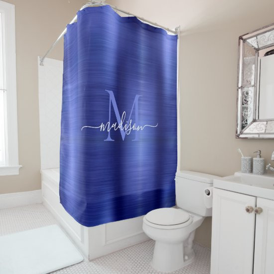 Chic Navy Blue Brushed Metal Monogram Girly Script Shower Curtain
