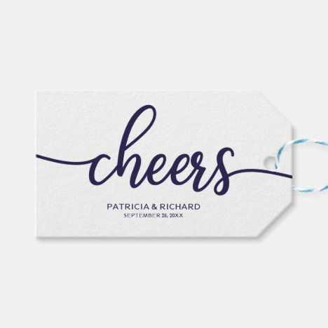 Chic Navy Blue Calligraphy Cheers Wine Bottle Tags