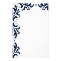 Chic Navy Blue Damask Plain Stationery