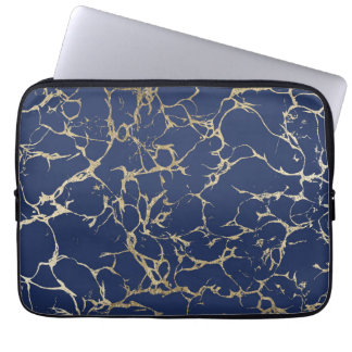 Chic navy blue faux gold foil marble pattern computer sleeves