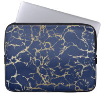 Chic navy blue faux gold foil marble pattern laptop sleeve