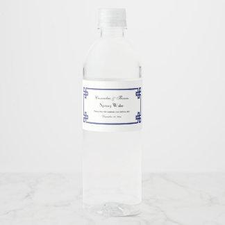 Chic Navy Blue Greek Key Knot Frame Water Bottle Label