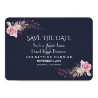 Chic Navy Blue Maroon Boho Floral Save The Date Card