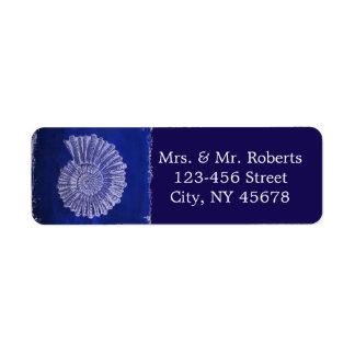 chic navy blue nautical seashells coastal wedding label