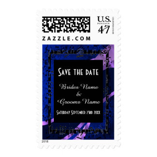 Chic navy damask  and black save the date postage