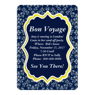 "Chic Navy Damask Floral ""Bon Voyage"" Invitation"