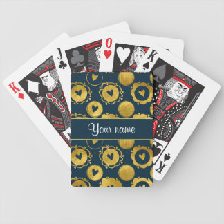 Chic Navy Hearts Gold Circles Bicycle Playing Cards