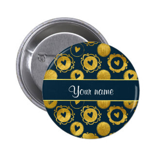 Chic Navy Hearts Gold Circles Button