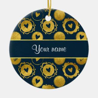 Chic Navy Hearts Gold Circles Ceramic Ornament