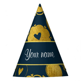 Chic Navy Hearts Gold Circles Party Hat