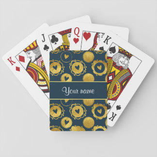 Chic Navy Hearts Gold Circles Playing Cards