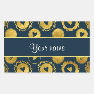 Chic Navy Hearts Gold Circles Rectangular Sticker