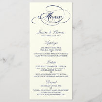 Chic Navy & Ivory Wedding Menu Template