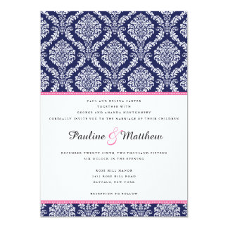 Chic Navy & Pink Damask Wedding 5x7 Paper Invitation Card