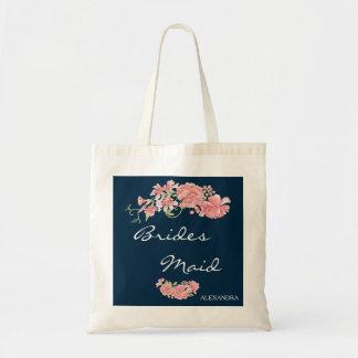 Chic navy pink peonies wedding bridesmaid tote bag