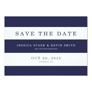 "Chic Navy Stripes Save the Date 5"" X 7"" Invitation Card"