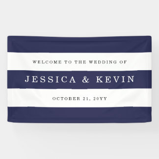 Chic Navy Stripes Wedding Banner