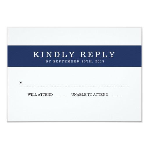 Chic Navy Stripes Wedding RSVP 3.5x5 Paper Invitation Card