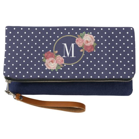 Chic Navy Vintage Flowers Polka Dots Monogram Clutch