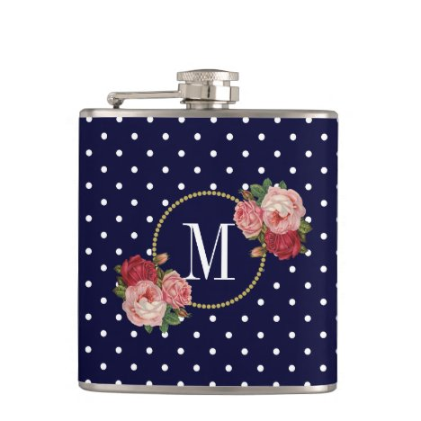 Chic Navy Vintage Pink Red Flowers Dots Monogram Flask