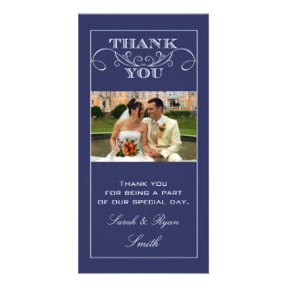 Chic Navy Wedding Thank You Photo Cards