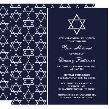 Beach Themed Chic Navy & White Jewish Star Of David Bar Mitzvah Card