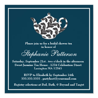 Chic Navy & White w Damask Bridal Shower Tea Party 5.25x5.25 Square Paper Invitation Card