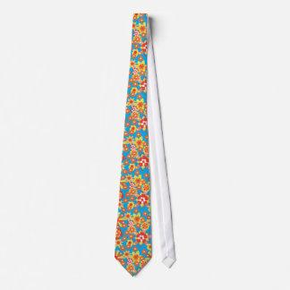 Chic Necktie: Ditsy Orange Floral Pattern Tie