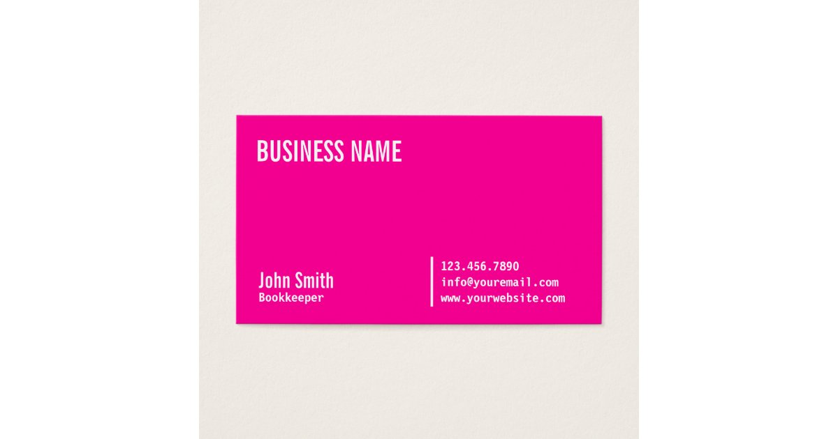 Chic Neon Pink Bookkeeper Business Card   Zazzle.com