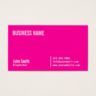 Chic Neon Pink Dispatcher Business Card