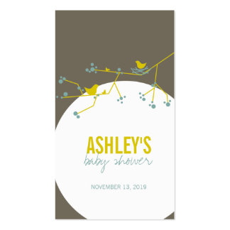 Chic Nesting Bird and Family Baby Shower Gift Tag Double-Sided Standard Business Cards (Pack Of 100)