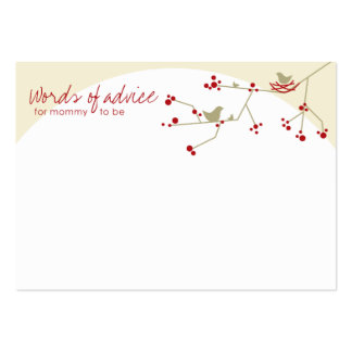 Chic Nesting Bird + Family Baby Shower Advice Card Large Business Cards (Pack Of 100)